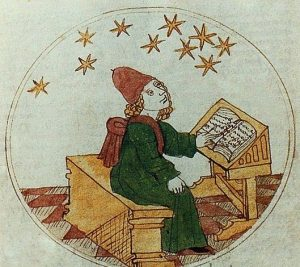 Illustration of a medieval astrologer making predictions.